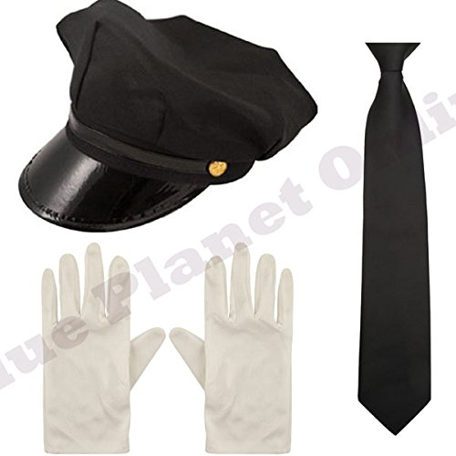 Childrens Kids Boys Chauffeur Limo Taxi Driver Black Hat Cap, Gloves & Tie Fancy Dress (Fancy Dress Berufe)