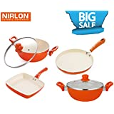 Nirlon Non-Stick Ceramic Coated Pots And Pans Combo Gift Set With Glass Lid