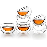 6 pz 50ML bere resistente al calore strato doppio-parete di vetro Tea Cup