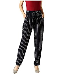 Marie Claire Women's Straight Casual Trouser - Black and White, Large