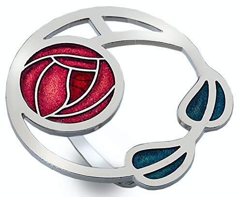 Sea Gems Schal-Ring, Emaille, Mackintosh, Rosen und Blätter-Design, Rot -