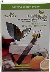 Honey & Lemon Green - 10 Tea Tubes & 10 Tea Sticks - Pure Green Whole Leaf Tea Blended with Lemon Peel and Natural Citrus Flavour