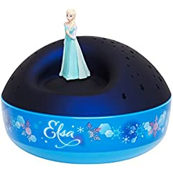 TROUSSELIER - DISNEY - La Reine des Neiges - Figurine Elsa - Veilleuse - Idéal Cadeau de Naissance - Projecteur d'Etoiles Musical - Figurine rotative - Piles inclues