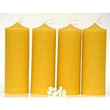 candles. nid d'abeille de 4 grande bougies en Pure cire d'abeille de la Forêt Noire-Hauteur: 15 cm-Diamètre: 5 cm.