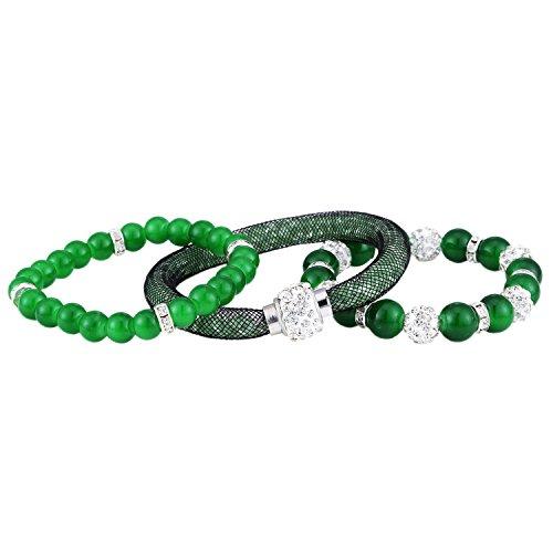 Morella Damen Armband Set 3 grüne Armbänder mit Glasperlen Zirkonia Beads und Strass weiß (Grün Armband)