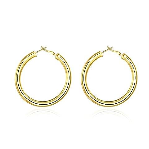 Gnzoe Jewelry Gold Plated Women Earring Women Hoop Earrings 5CM Round Gold
