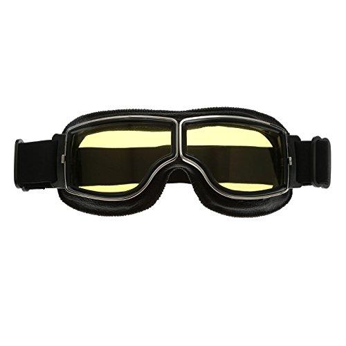 Schwarz Rahmen Retro Motorrad Helm Brillen Schutzbrillen UV Schutz für Sport Outdoor Skifahren Snowboard - Gelb Glas (Gelbe Snowboard-schutzbrillen)