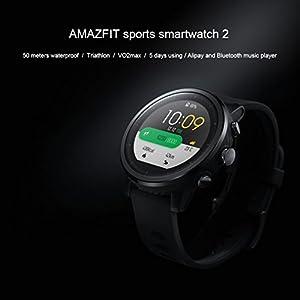Xiaomi Huami Amazfit Sports Smartwatch Stratos 2 con GPS PPG Monitor de frecuencia cardíaca 5ATM impermeable Bluetooth play music Versión en inglés Negro