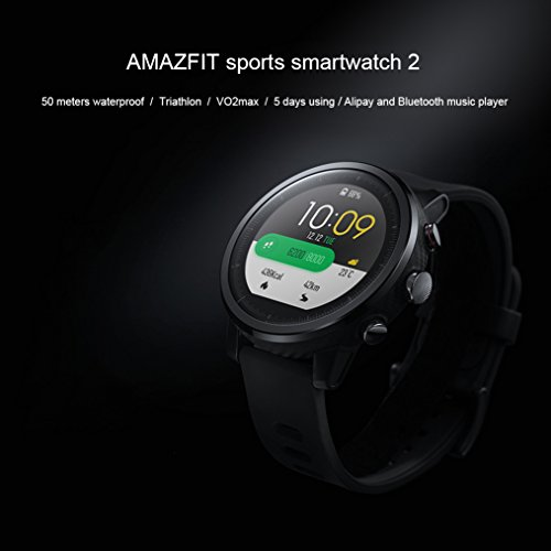 Xiaomi Huami Amazfit Sports Smartwatches Stratos 2 With GPS PPG Heart Rate Monitor 5ATM Waterproof Bluetooth Play Music English Version Black
