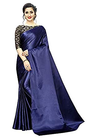 Blue Wish Women's Plain Sof Satin Silk Saree With Fancy Designer Jacquard Blouse Piece