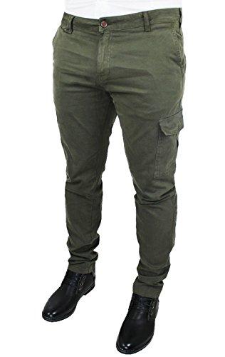 Pantaloni Gaudì uomo verde militare jeans cargo slim fit tasche laterali (50)