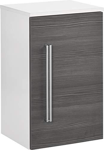 FACKELMANN Unterschrank Lugano/Badschrank mit Soft-Close-System/Maße (B x H x T): ca. 35 x 59 x 32 cm/Hochwertiger Schrank fürs Bad/Türanschlag rechts/Korpus: Weiß/Front: Grau/Breite 35 cm