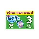 Molfix Bebek Bezi 3 Beden Midi Süper Fırsat Paketi 4-9 kg 94 adet