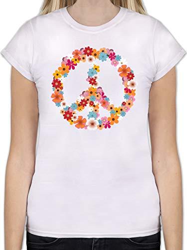 Statement Shirts - Peace Flower Power - M - Weiß - L191 - Tailliertes Tshirt für Damen und Frauen T-Shirt -