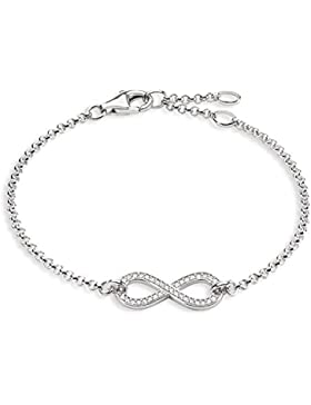 Thomas Sabo Damen-Armband Glam & Soul Unendlichkeit 925 Sterling Silber Zirkonia weiß Länge von 16.5 bis 19.5...