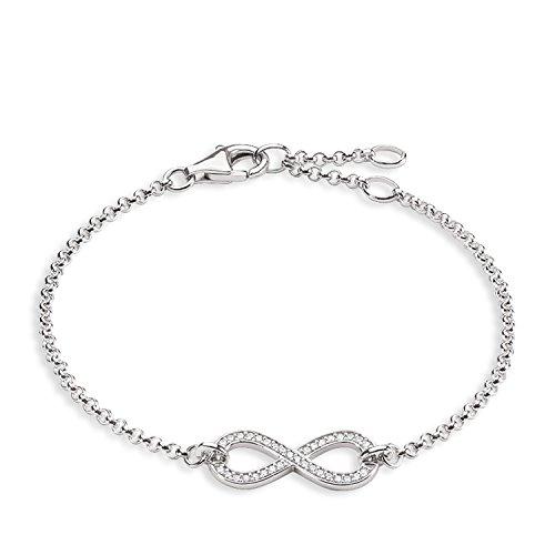 Thomas Sabo Damen-Armband Glam & Soul Unendlichkeit 925 Sterling Silber Zirkonia weiß Länge von 16.5 bis 19.5 cm A1310-051-14