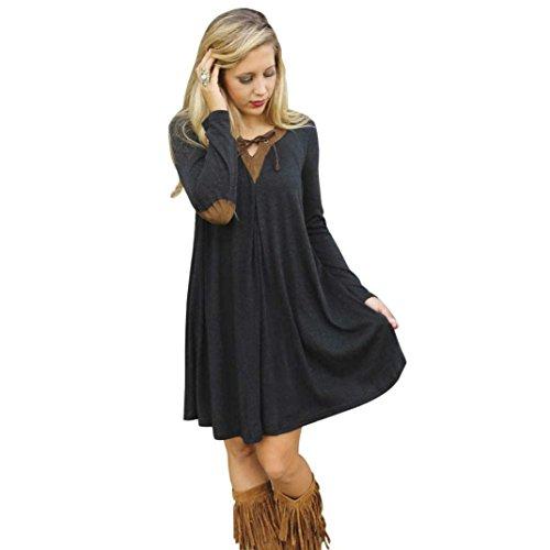 Bluestercool Mädchen Herbst Persönlichkeit lose komfortable Schwarz Langarm Kleid (L / EU (Kostüme Rock Um Uhr Die Rund)