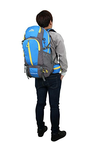 Rucksack 45L Nylon wasserdicht Rucksack Bergsteigen Rucksack Wandern Rucksack Outdoor Multifunktion Sport Tasche H55 x L32 x T18 cm Blue