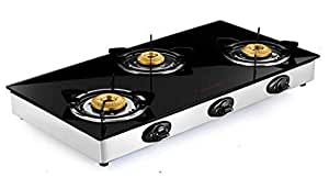 Butterfly Grand 3 Burner Glass Top Gas Stove, Black
