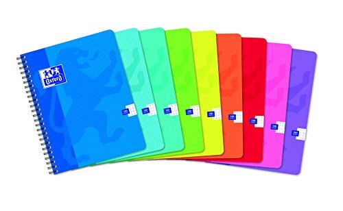 Oxford 100103804 - quaderno per scuola con rilegatura a spirale office classique, 100 fogli a quadretti, confezione da 10 pezzi, 17 x 22 cm, colori assortiti