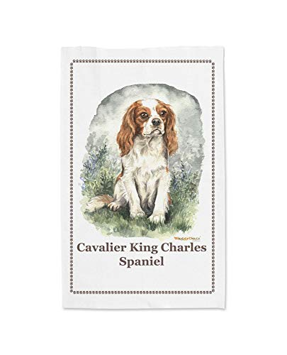 Waggy Dogz Geschirrtuch, Motiv Cavalier King Charles Spaniel, CD07, 100% Baumwolle, Weiß -