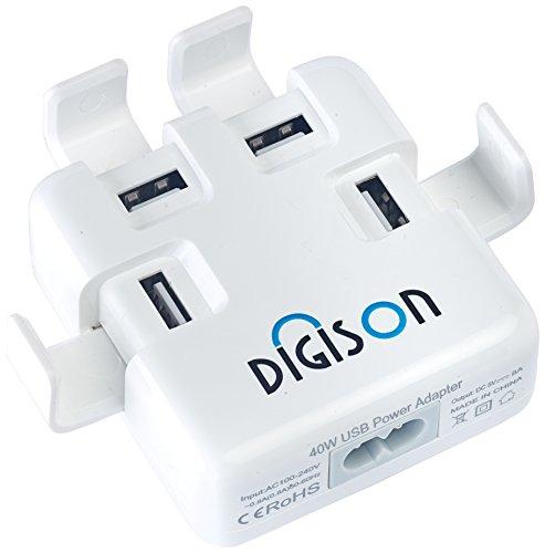 DIGISON DS-4000 4-Port USB Traveller- und Ladegerät weiß inkl. 1,5 m Ladekabel (Ds Stand)