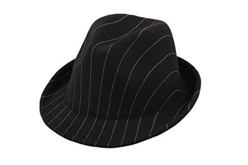 Dantiya-Femme élégante moderne chapeau jazz en feutre rayure Noir