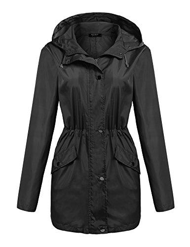 Parabler Damen Regenjacke Übergangsjacke Regenkleidung Kapuzejacke Raincoat Wasserdicht Jacke Herbst Jacket Winterjacke mit Verstellbar Seil