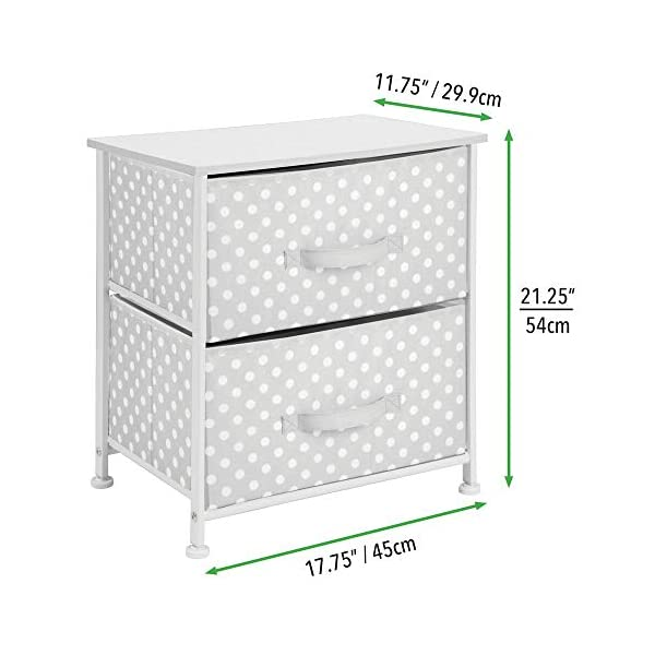 mDesign Chest of Drawers - Children's Bedroom Storage System with 2 Drawers and Flat Top - Nursery Storage Unit with Polka Dot Design - Grey/White mDesign SWEET STORAGE: This 2-drawer side table is a must-have accent to complement any child's room. The grey fabric is adorned with a sweet white polka dot pattern. STORE ANYTHING: The bedroom drawers are a versatile unit and can be filled with anything. Use to store toys, accessories, clothes, books, nappies and more. VERSATILE UNIT: Although the unit works best as bedroom storage, its uses do not stop there. Place in play rooms, nurseries and other child-specific areas of the home. 4