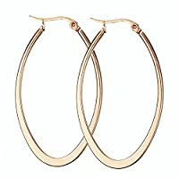 Epinki Jewellery 1 Pair Stainless Steel Women Hoop Earrings for Cartilage Piercing Rose Gold 50MM