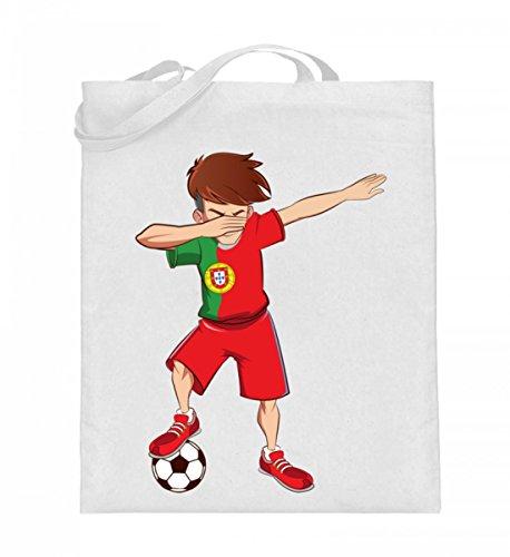 ALBASPIRIT Hochwertiger Jutebeutel (mit langen Henkeln) - Dabbing Fussball Spieler Dab Portugal Fan T-Shirt Portugiesischer Fussballer Geschenk