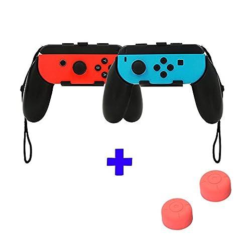 QUMOX Contrôleur Grip Joystick Handle Grip L + R Travel Holder Set de casse - Set de housses de poignet noir et pouce Grip - Rouge Pour Nintendo Switch