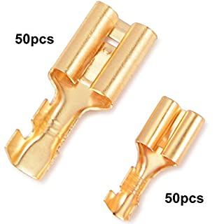 FOSHIO Electrical Wire Crimp Terminals Kit Spade Connectors Crimping Tool with Assorted Insulated Brass Plating Terminals Block 6.3mm,9.5mm, Pack 100.