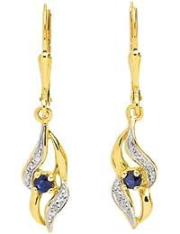 Boucles d'oreilles pendantes - Or bicolore 9 cts - Saphir - 293035.S3