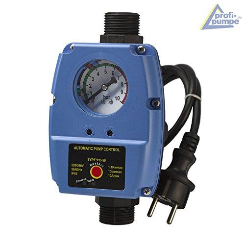 Pumpensteuerung Druckschalter mit Manometer Druckwächter einstelbar Automatic-Controller Durchflusswächter verkabelt für Hauswasserwerk Pumpe Brunnenpumpe Kreiselpumpe Tauchpumpe Tiefbrunnenpumpe