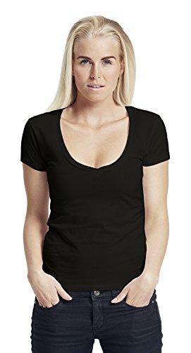 Green Cat- Damen Deep V-Neck T-Shirt, 100% Bio-Baumwolle. Fairtrade, Oeko-Tex und Ecolabel Zertifiziert, Textilfarbe: schwarz, Gr.: XXL -