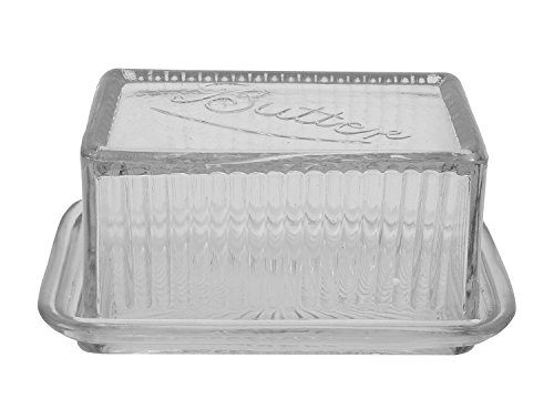 Creative Co-op Clear Pressed Glass Butter Dish, 6-1/2 by 3-1/2-Inch, Clear