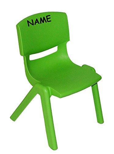 Stuhl für Kinder - GRÜN - incl. Namen - für INNEN & AUßEN - stapelbar / kippsicher / bis 100 kg belastbar - Kindermöbel für Mädchen & Jungen - Plastik / Kunststoff - Kinderstuhl Stühle / Kinderzimmer / Plastikstuhl - Gartenmöbel