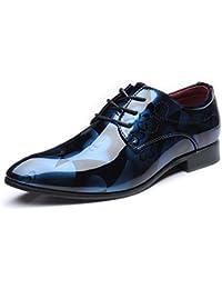 Ofgcfbvxd Herren Formelle Schuhe Polierte PU-Lederschuhe Glatte abstrakte Malerei Klassische Slipper ausgekleidet Business Oxfords (extra groß) Lace Up Kleid Schuhe (Color : Blau, Größe : 44 EU)