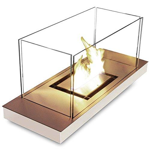 Preisvergleich Produktbild Uni Flame weiß 1,7 l glanzpolierter Edelstahl Ethanol-Kamin 544 J