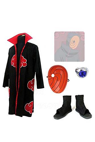Uchiha Obito Kostüm Cosplay - RedJade Naruto Uchiha Obito Komplett Set Cosplay Kostüm Herren XL