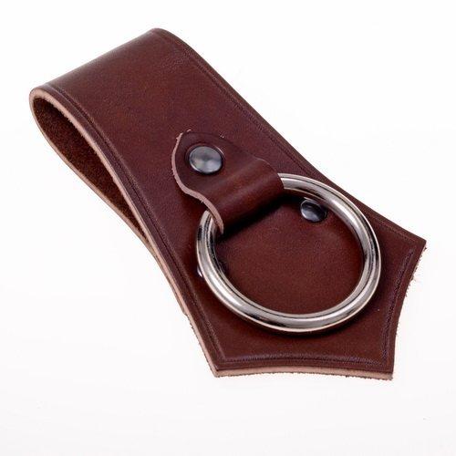 Axthalter in formschönem Design - Gürtel-Halter mit Ring aus solidem Rindsleder Farbe braun