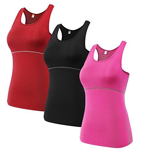 DD UP - 3x Débardeur Tank Tops - T shirt et tops de sport - Débardeur Sport Femme Red-Black-Pink