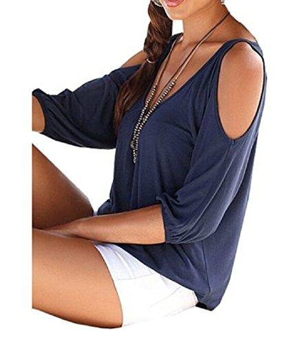 Pacyer® Donne Sexy V-Collo Tinta Unita Maniche Corte Camicia Estiva Top Camicetta Casuale T-Shirt Blouse (M, Blu marino)