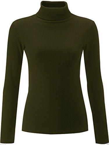 Lush clothing - 12A Polo Col Roulé en coton côtelé à manches longues - Tailles 36 – 50 Khaki Green