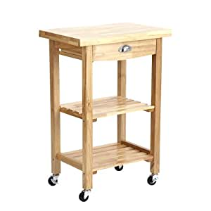 Trueshopping 'Sulgrave' Compact Solid Rubberwood Kitchen or Garden BBQ Storage Rolling Trolley Cart with Butchers Block Style Chopping Board