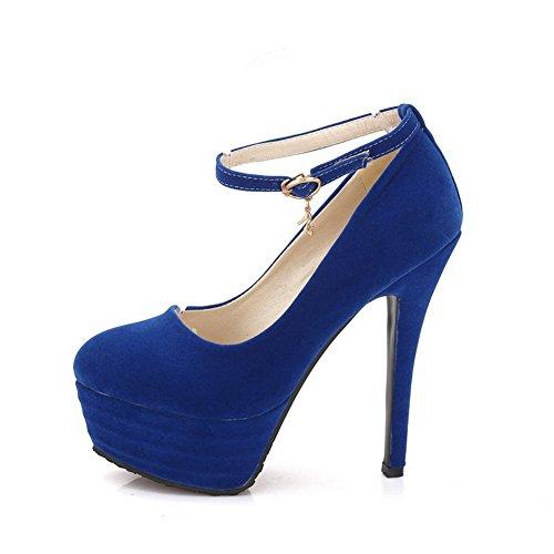 VogueZone009 Femme Suédé Couleur Unie Boucle Fermeture D'Orteil Rond Stylet Chaussures Légeres Bleu