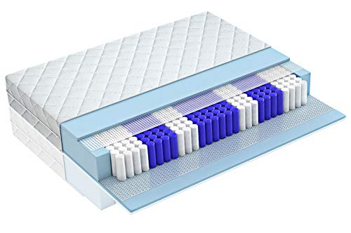 Matratzen Perfekt 7-Zonen Taschenfederkernmatratze in den Härtegraden H2, H3, H4, Höhe von 20 cm, Tonnentaschenfederkern-Matratze Köln mit exzellenter Punktelastizität (H3, 90 x 200 cm)