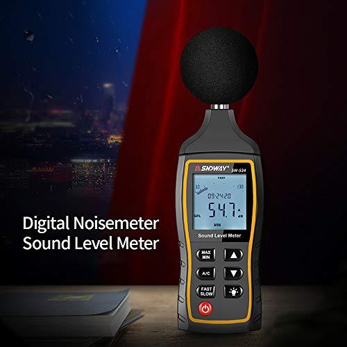 KKmoon Digital Schallpegelmesser LCD Noise Meter 30-130dB Geräuschpegelmessgerät Dezibel-Überwachung Tester mit A- und C-Frequenzbewertung für Schallpegelprüfungen