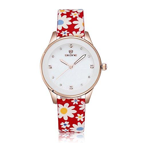 Skone banda de tela de las mujeres vestido relojes cuarzo relojes oro rosa caso con brillantes, color rojo